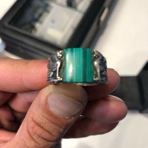 Rare Dave Yurman Green Stone Ring. Size 10